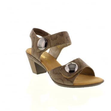 Rieker 67369-64 Ladies beige combination Velcro sandals