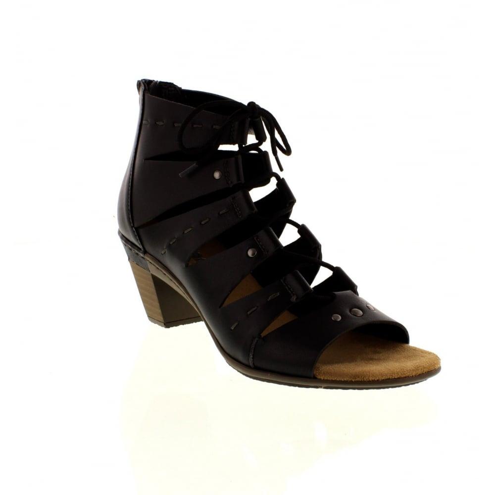 67399 00 Rieker Ladies Black Sandals Lace KTl1J3Fc