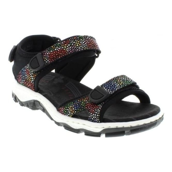 Rieker 68863-91 Ladies Multicoloured/Metallic hook and loop sandals