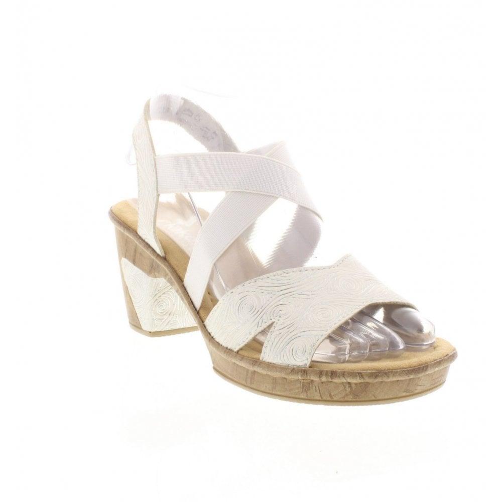 b20259097 Rieker 69720-80 Ladies White Combination Sandals - Rieker Ladies from Rieker  UK