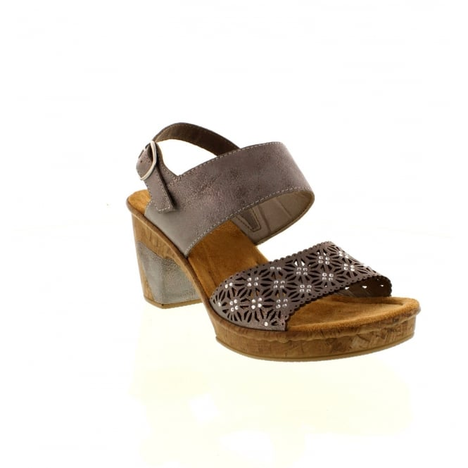 Rieker 69730-40 Ladies Grey Buckle sandals