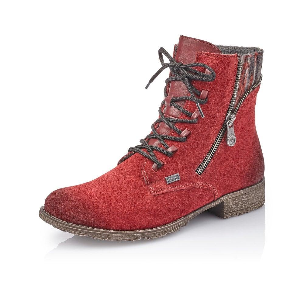 Rieker 70840-35 Ladies Red Zip Up Ankle