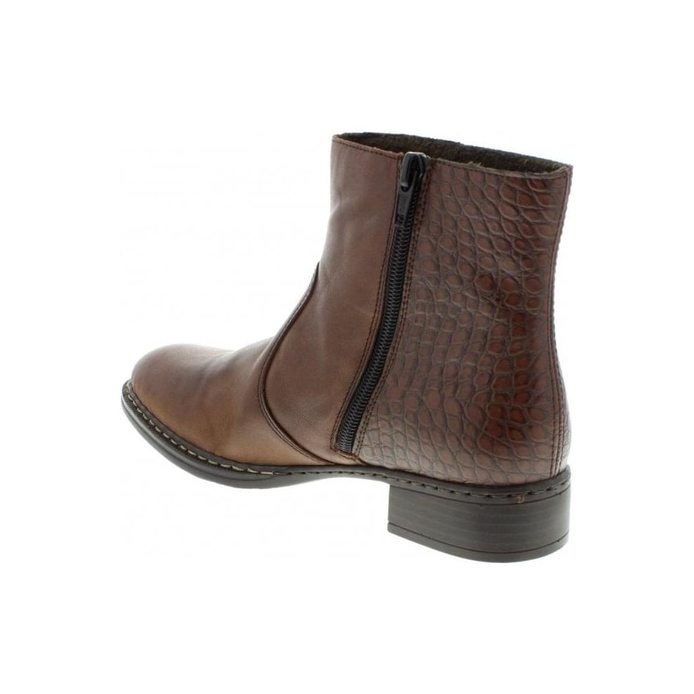 b7d1c7ba287ce Rieker 73490-26 Ladies Brown Zipper boots