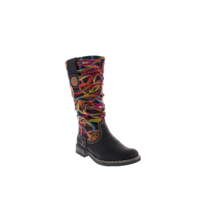 Rieker 74663-00 Womens black multi coloured boot