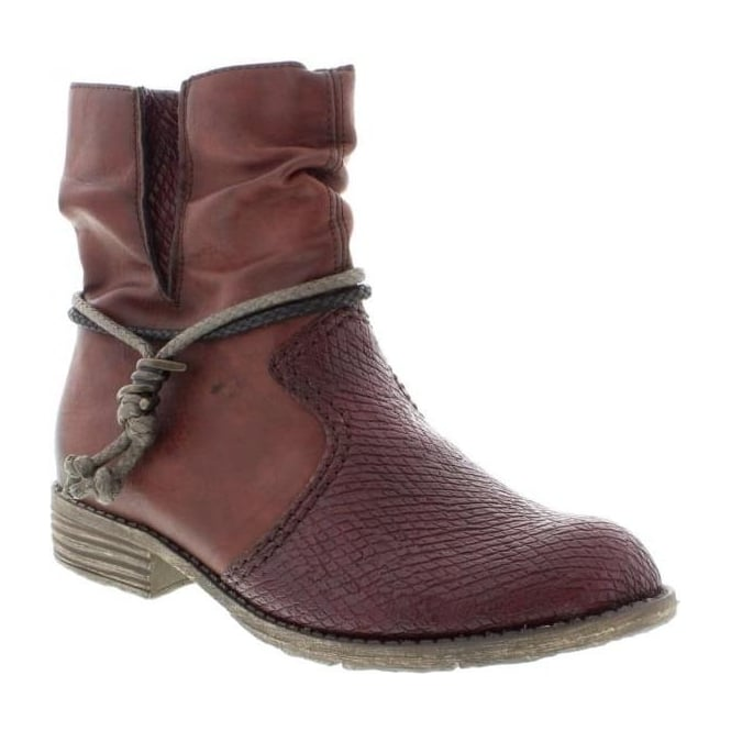 Rieker 74779-35 Ladies Red Combination Zipper boots