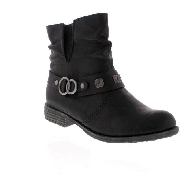 Rieker 74798-00 Womens Black Ankle Boot