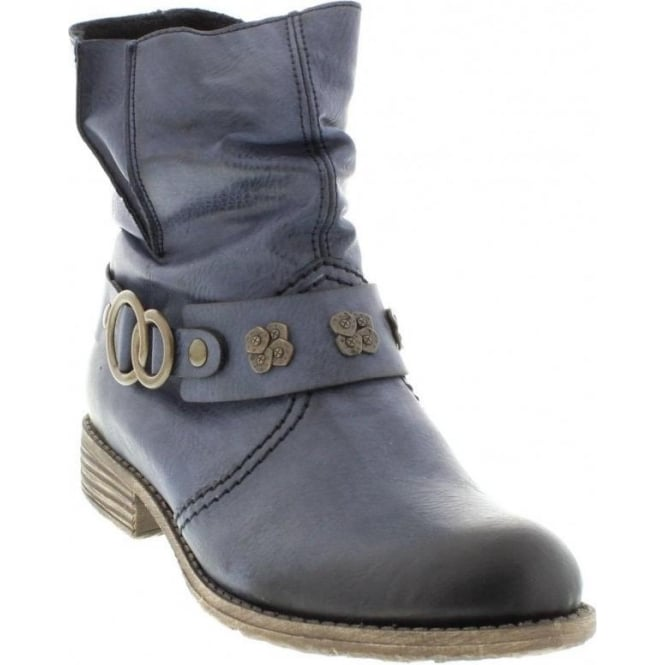 Rieker 74798-14 Ladies Blue Zipper boots