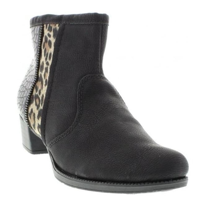 Rieker 76689-00 Ladies Black Zipper boots
