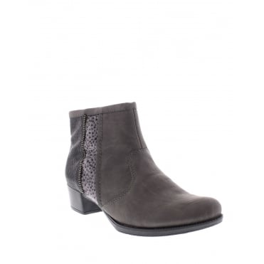 Rieker 76689-46 Womens grey and black ankle boot