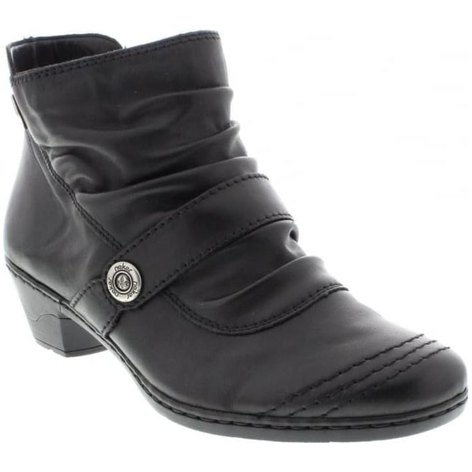 Rieker 76963-01 Ladies Black Zipper boots