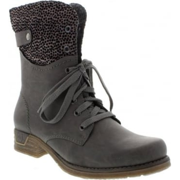 Rieker 79604-45 Ladies Grey Combination Lace Up boots