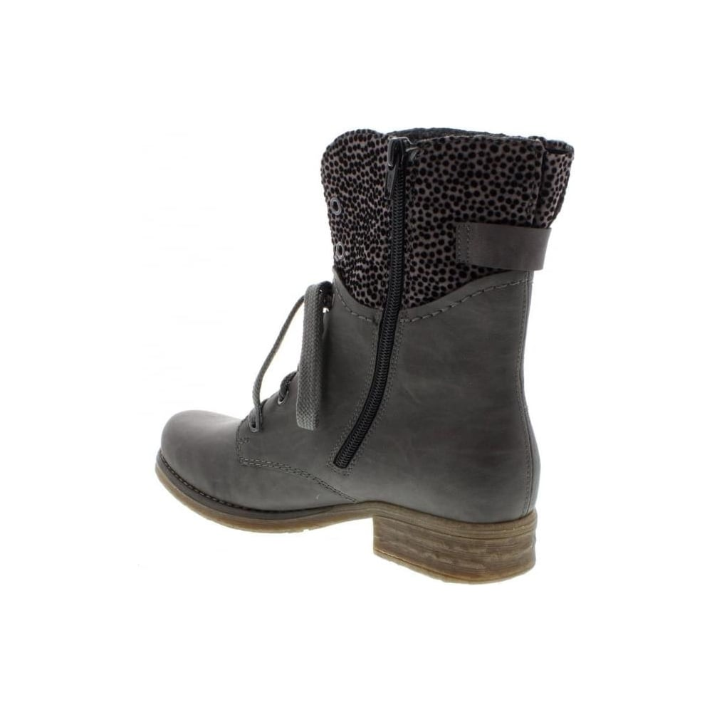 79604 45 Ladies Grey Combination Lace Up boots