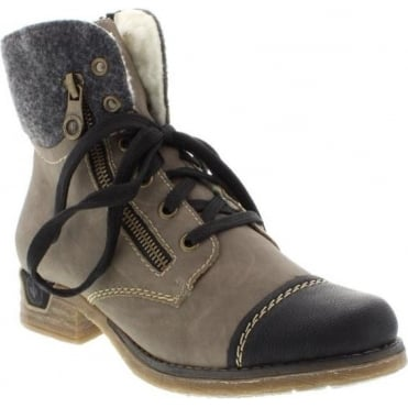 Rieker 79641-01 Ladies Black Lace Up boots