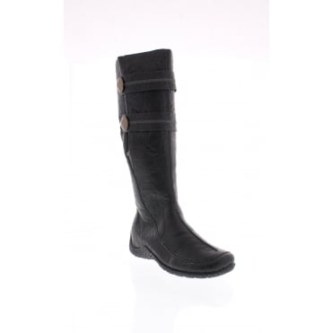 Rieker 79970-01 Womens black mid calf boots