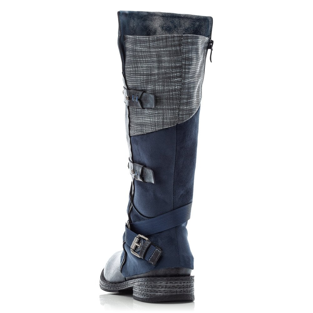 Rieker 92284-45 Grey Blue Long Legged Ladies Boot