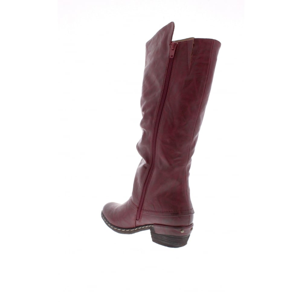 3068bb6e81ad Rieker 93655-35 Ladies Red Zip Up Knee Length Boots - Rieker Ladies ...