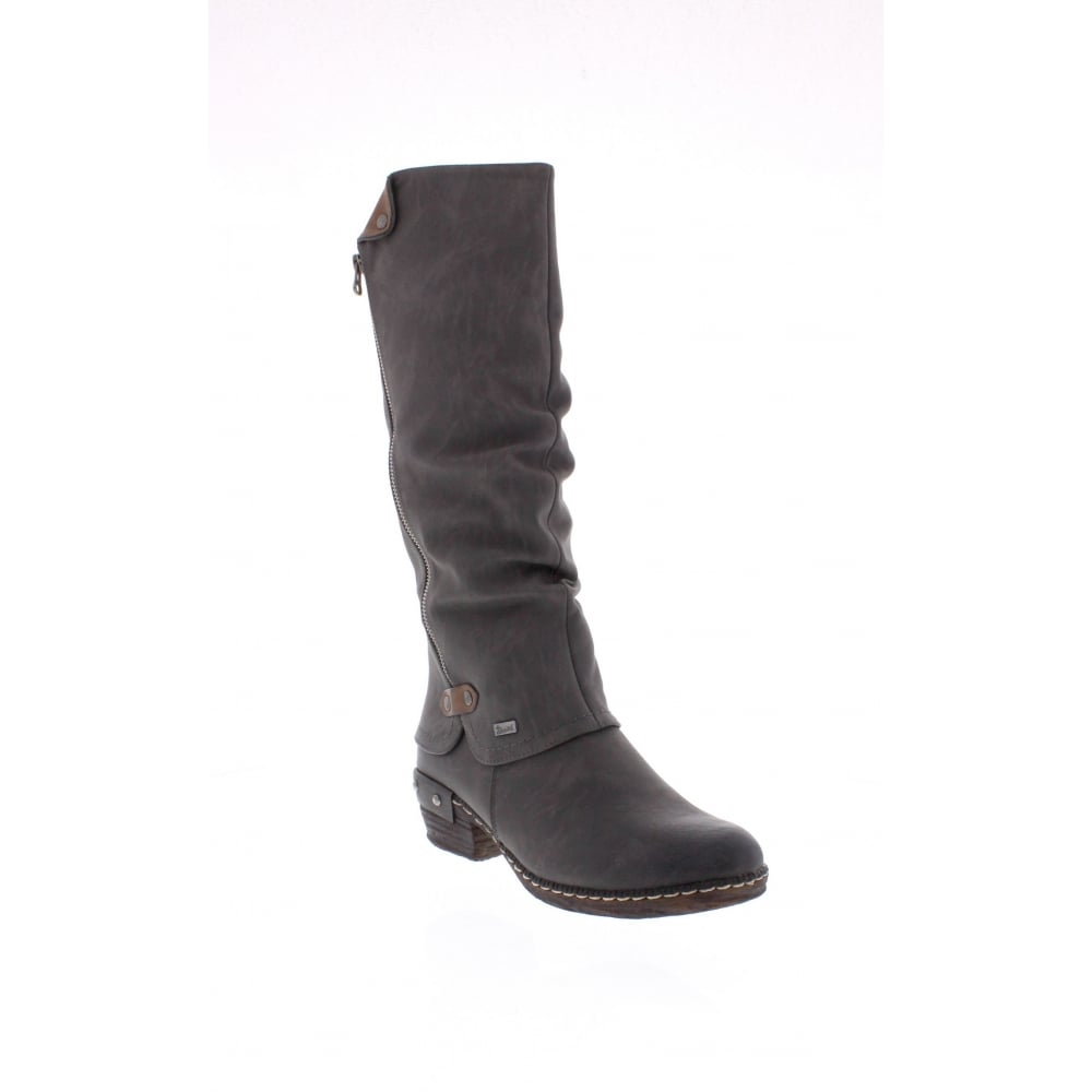 detailed look 2018 sneakers laest technology 93655-45 Ladies Grey Zip Up Knee Length Boots