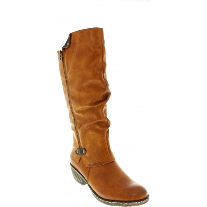 Rieker 93755-24 Ladies Brown Zipper boots