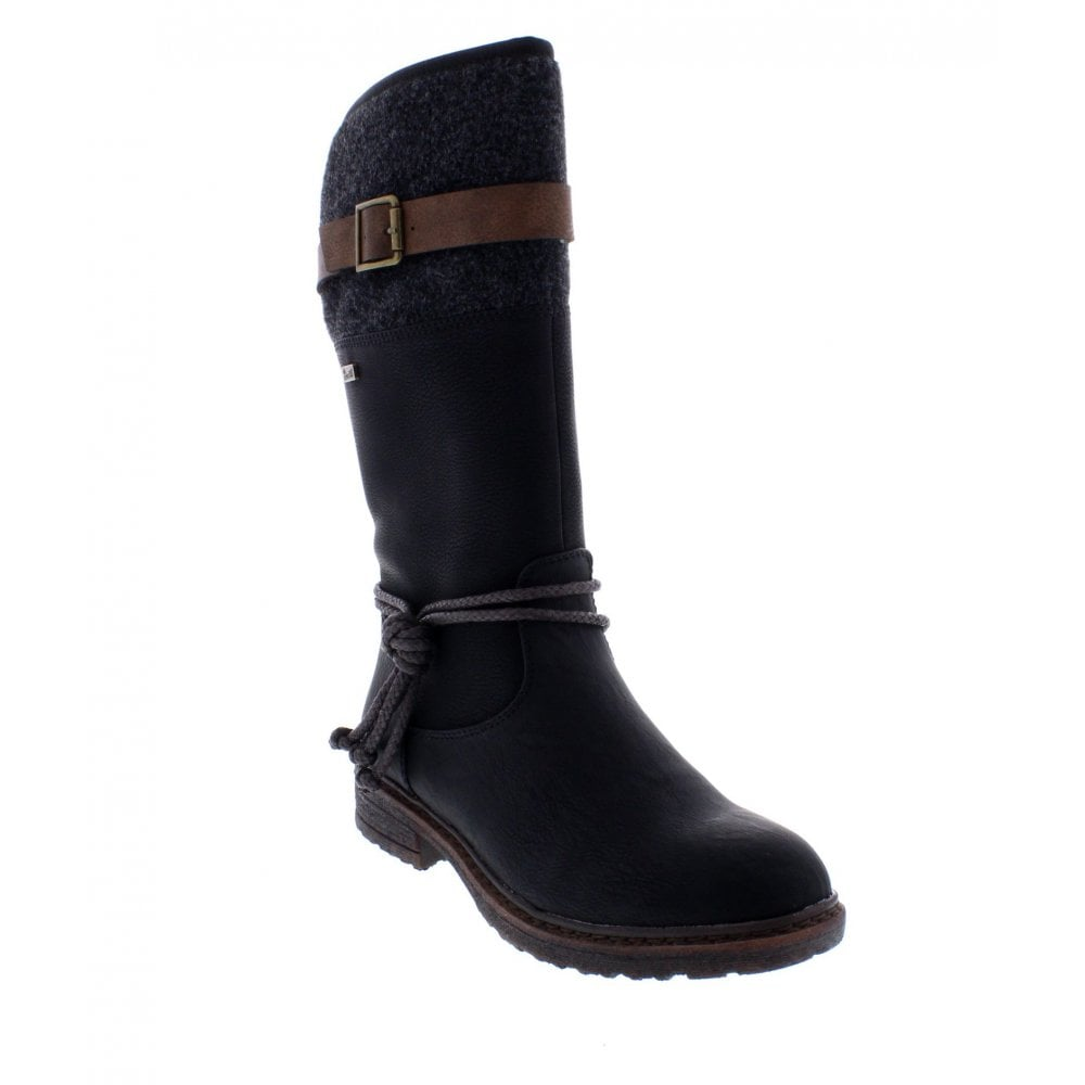 94778 00 Ladies Black Zip Up Calf Length Boots