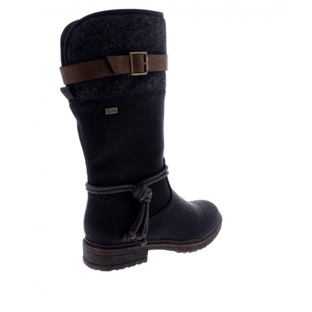 94778 00 Ladies Black Zip Up Calf Length Boots