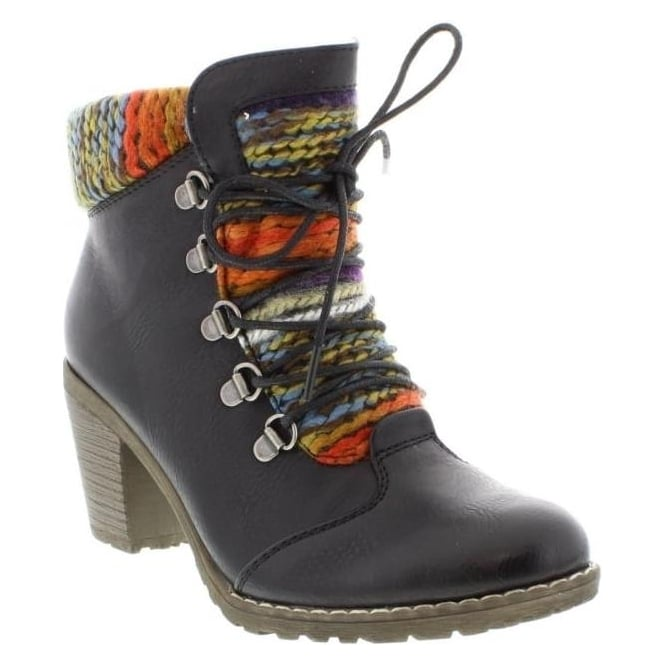 Rieker 95323-00 Ladies Black Lace Up, Zipper boots
