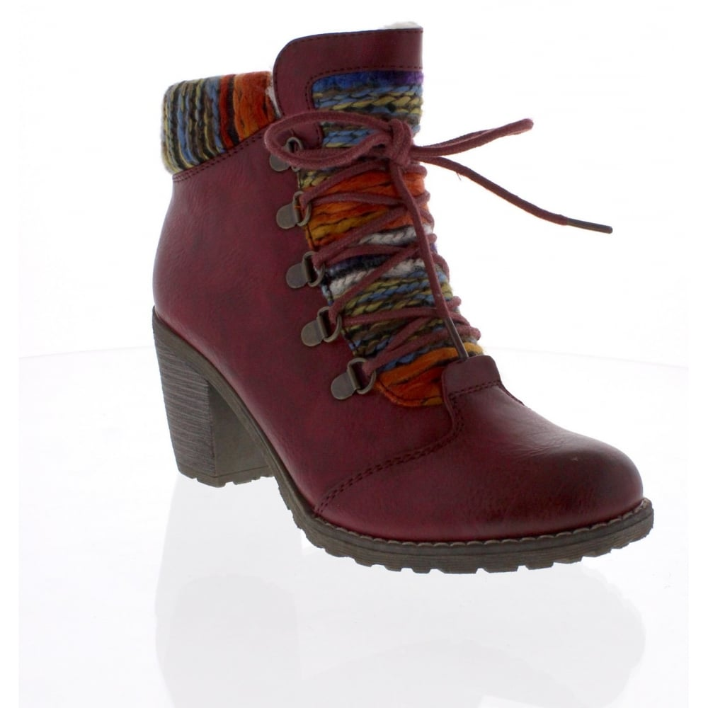 Rieker 95323-35 Womens red combination ankle boot