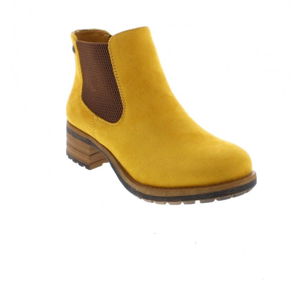 best shoes best best sneakers Rieker 96884-68 Ladies Yellow Pull On Ankle Boots - Rieker Ladies ...