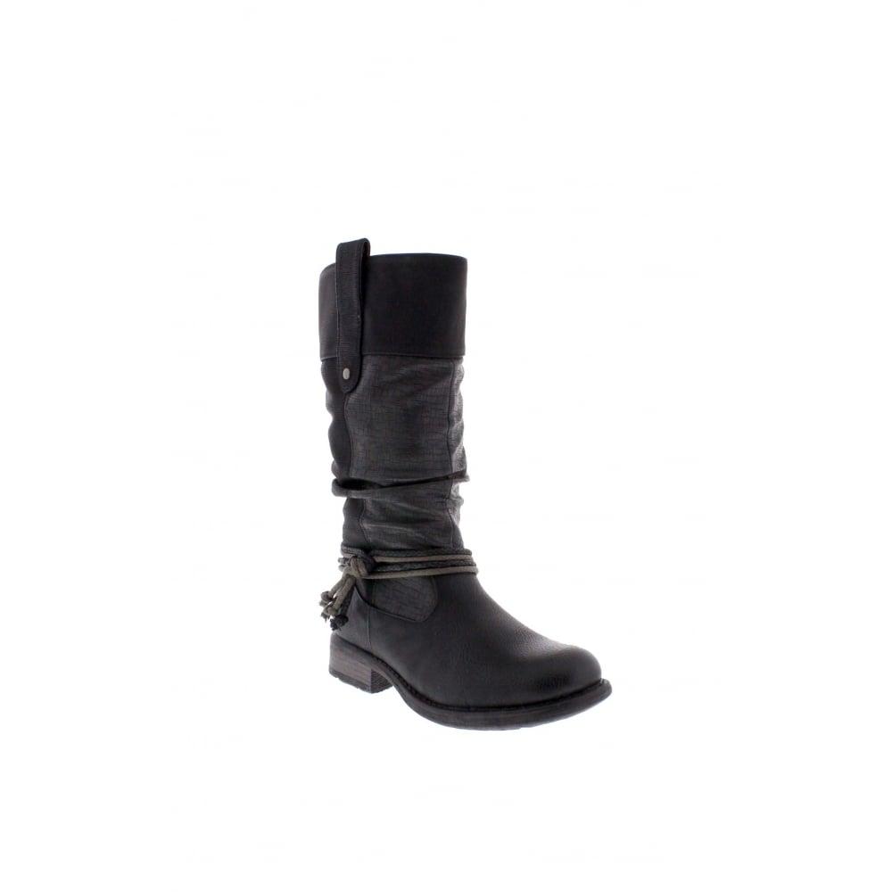 Rieker 97279-00 Womens black mid calf boots