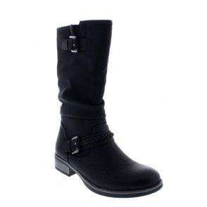 Rieker 94778 00 Ladies Black Zip Up Calf Length Boots