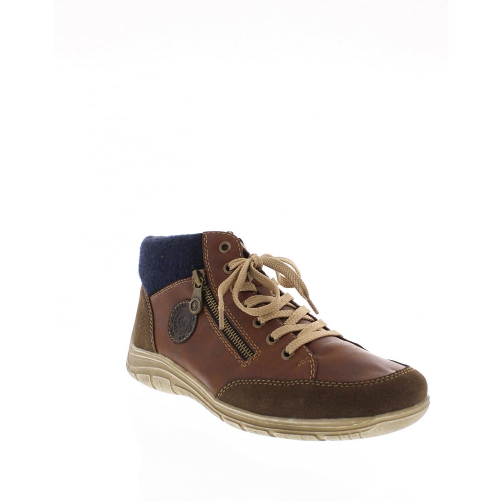 Rieker F6512 26 Mens Brown And Blue Boots Rieker Mens