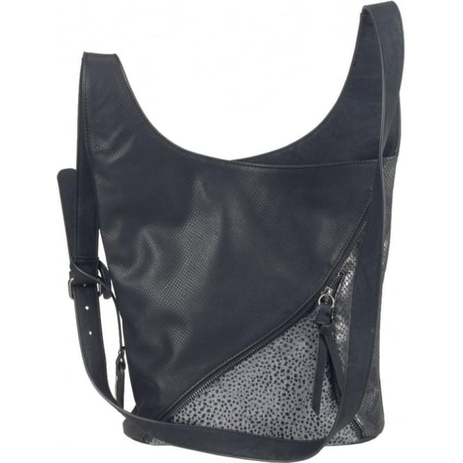 Rieker H1428-00 Ladies Black Zipper Bags