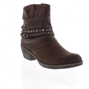 Rieker K1493-26 brown combination ankle boot