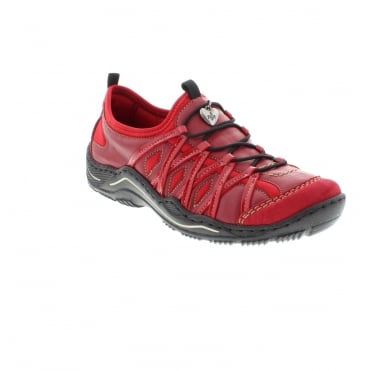 Rieker L0559-33 Ladies Red Lace shoes