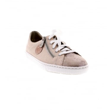 Rieker L0943-62 Ladies pink and silver combination casual shoe