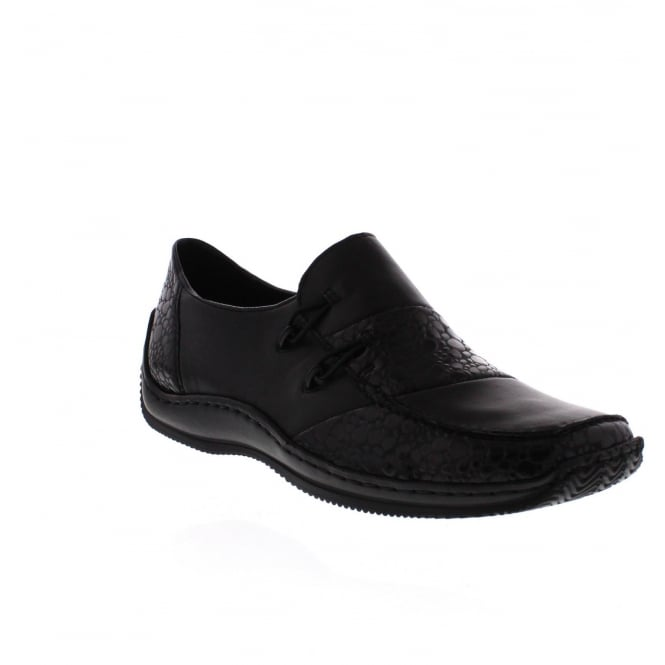 Rieker L1762-48 Womens Black Combination Slip On Shoe