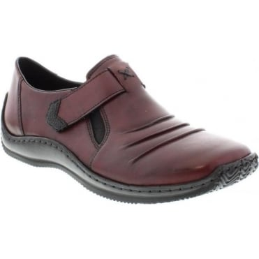 Rieker L1763-35 Ladies Red Combination Velcro shoes