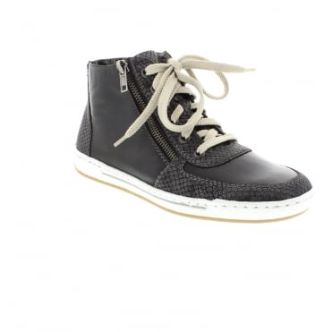 Rieker L3032-45 Ladies Grey Combination Lace ankleboots