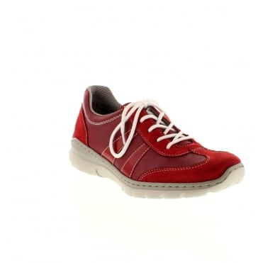 Rieker L3231-33 Ladies Red Lace shoes