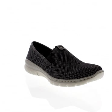 Rieker L3272-00 Ladies Black Combination Slip on shoes
