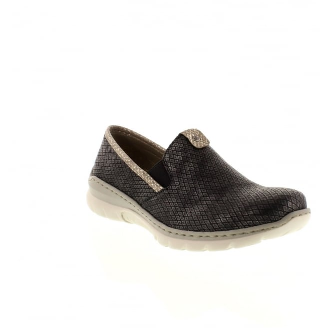 Rieker L3272-45 Ladies Grey Combination Slip on shoes