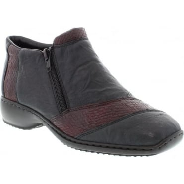 Rieker L3864-14 Ladies Blue Zipper ankleboots