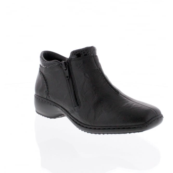Rieker L3882-01 Womens Black Combination Ankle Boot