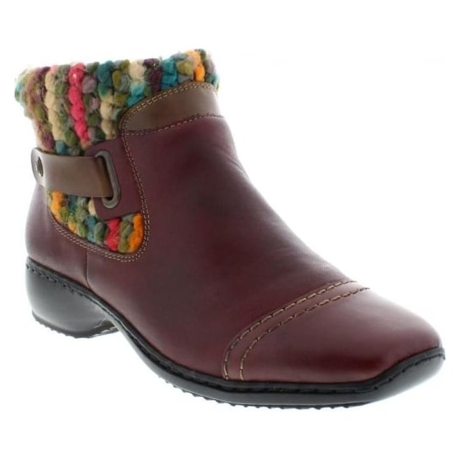 Rieker L3884-35 Ladies Red Combination Zipper ankleboots