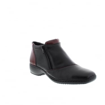 Rieker L3890-00 Ladies Black Zipper ankleboots