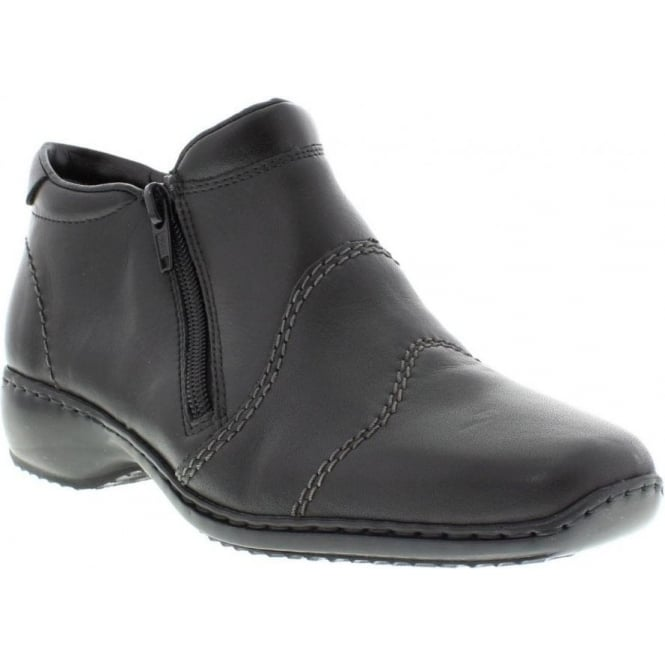 Rieker L3892-00 Ladies Black Zipper ankleboots