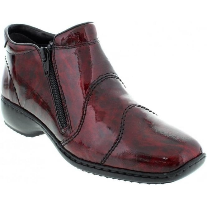 Rieker L3892-37 Ladies Red Combination Zipper ankleboots