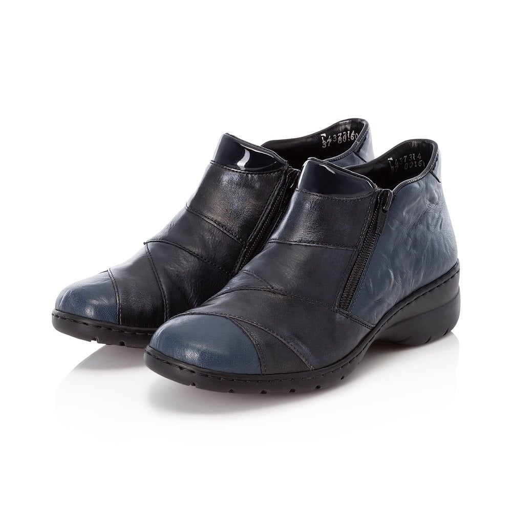 Rieker L4373-14 Ladies Womens Casual Smart Leather Twin Zip Ankle Boot Blue