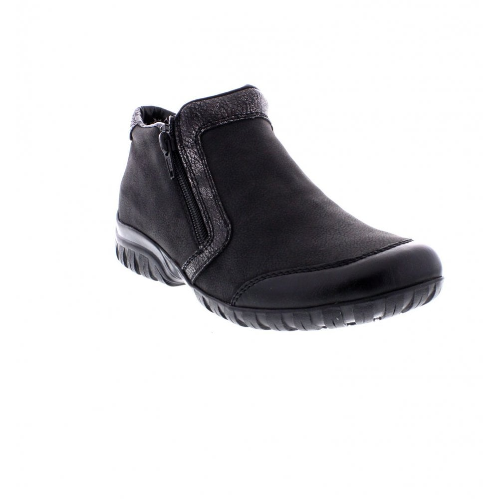 Rieker L4659 00 Ladies Black And Silver Ankle Shoe Boots