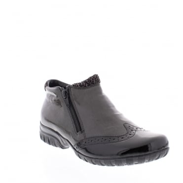 Rieker L4696-00 Womens black and grey combination ankle boot