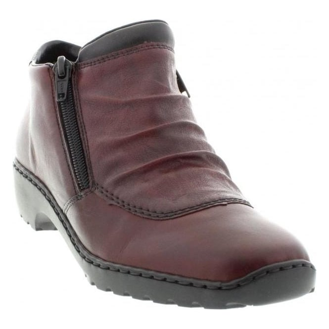Rieker L6052-35 Ladies Red Combination Zipper ankleboots